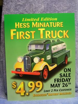 ACSTrucks.com - 2000 Hess Mini First Truck Window Sign