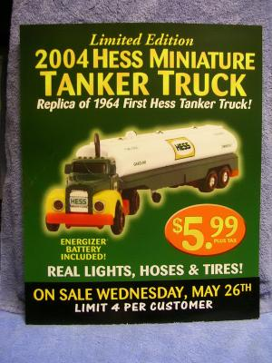 ACSTrucks.com - 2004 Hess Mini Truck Window Sign